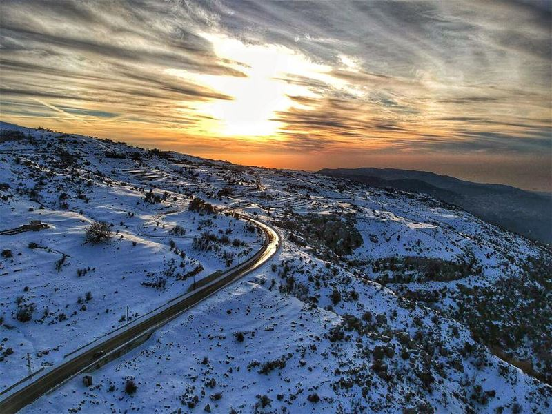 The Road to your Dreams is a Sunset away ❄️🌄 dji djispark abovelebanon ... (Mount Lebanon Governorate)