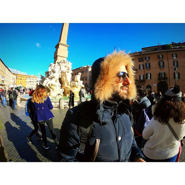 An Eye for a Fish Eye ⛲️ 🇮🇹 .... rome  italy  moi  me  cold ... (Piazza Navona)