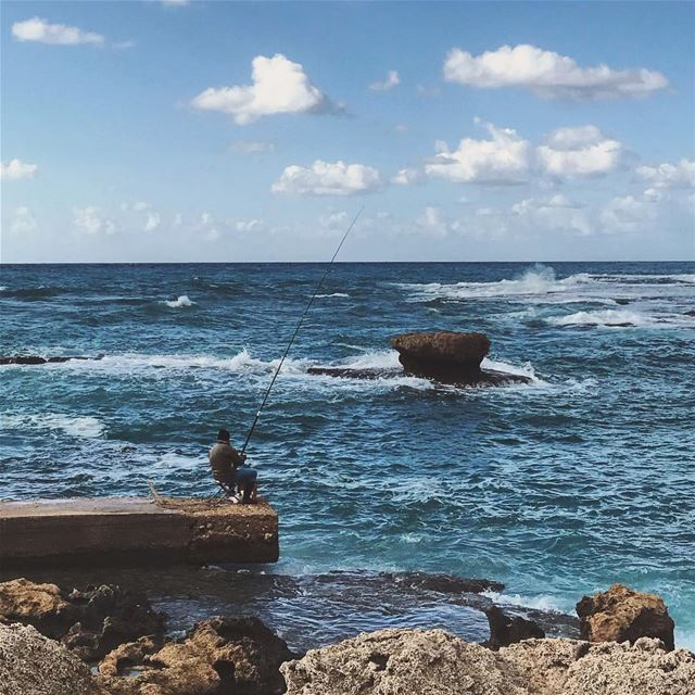 A storm never kept the fishermen ashore🎣 Lebanon tb travel travelgram... (Byblos - Jbeil)