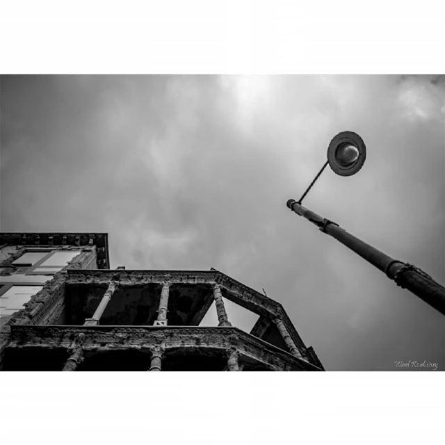 bnw old blackandwhite building streetlight heritage beirut sky ... (Beirut, Lebanon)