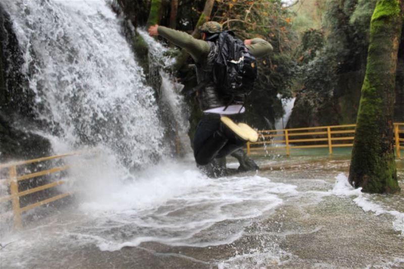 hikingadventures jumping hiker waterfall amazingday hiking baakline ... (الشلالات الزرقاء)