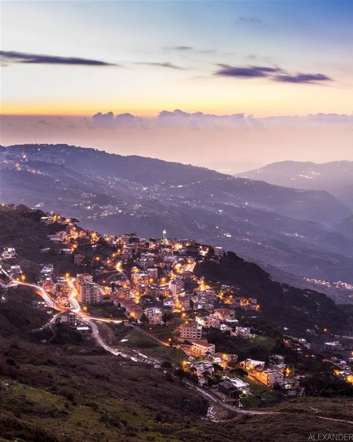 The blue hour | Long exposure. Kobbeih Village after the sunset and Beirut... (Lebanon)