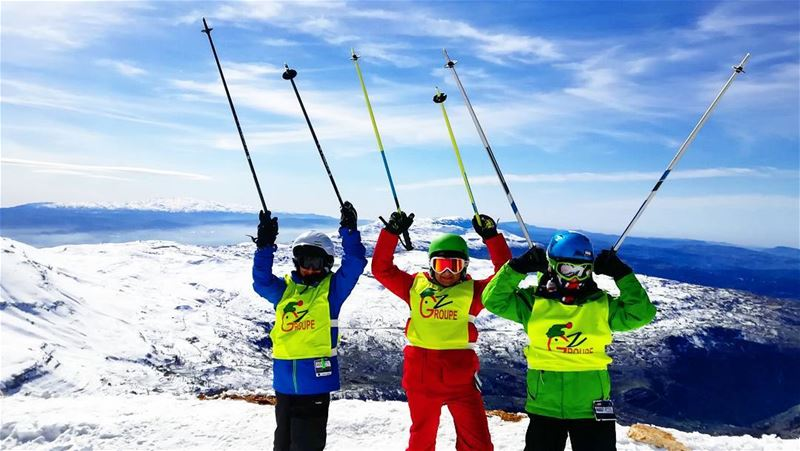 Groupe Z at the to of Mzaar mzaar2400 groupez skischool mzaar lebanon...