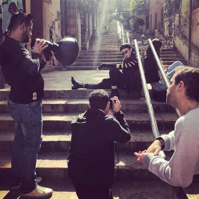 photoshootday at gemmayze stairway, lebanon. With the amazing team @dgm