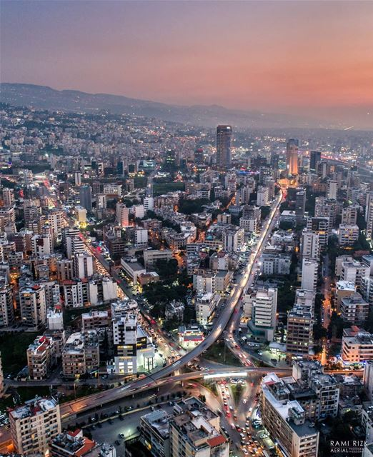 City Lights 🎆... lebanon beirut dji drones quadcopter aerial ... (Sinn Al Fil, Mont-Liban, Lebanon)
