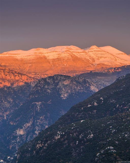 Magical sunset | Snow covered Jabal el Makmel at the last moments of Sun 4- (Jabal el Makmel)