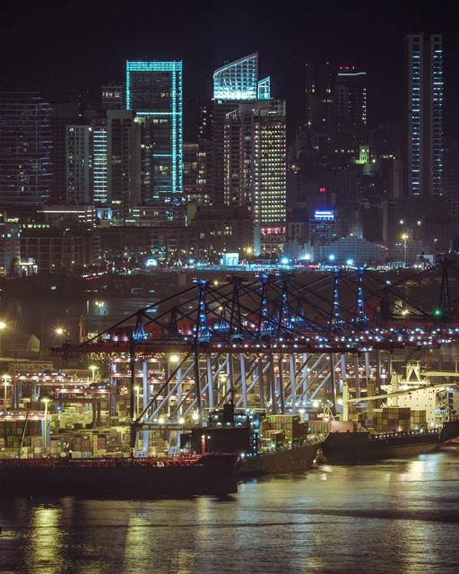 Modern-day Phoenician civilization?Good Night Beirut ❤️By @mikeroscopik ... (Port of Beirut)