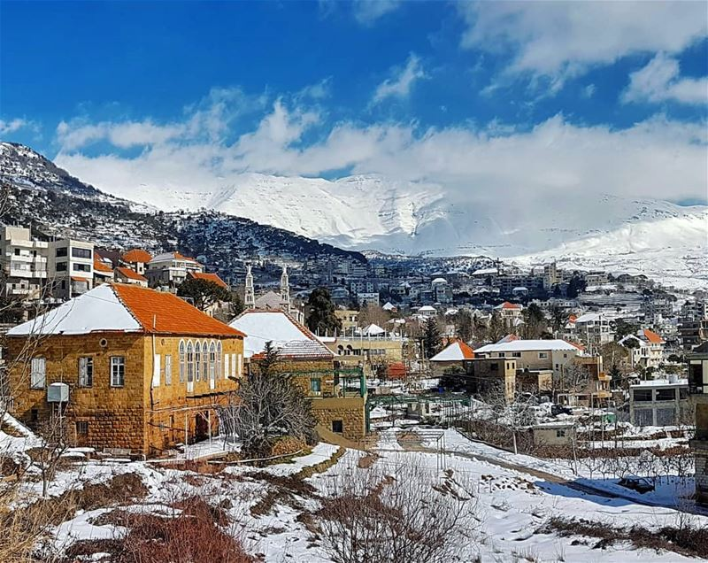 Winter can still be beautiful mountain villages baskinta landscape ... (Baskinta, Lebanon)