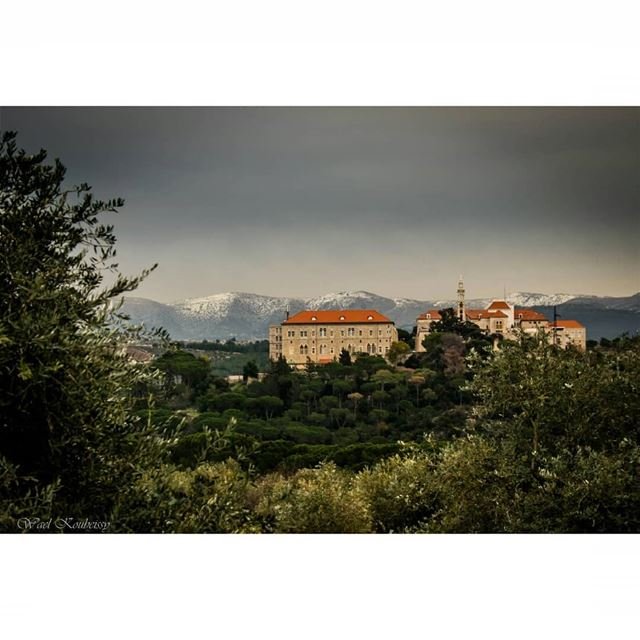 lebanon  monastery  landscape  mountains  snowy  mountain  tree  nature ... (دير المخلص العامر)