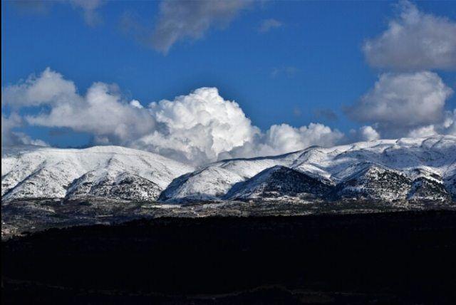 snow white mountain february sky blue cloud lebanon beauty live ... (Chouf)