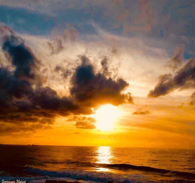 sunset sea saida lebanon sky clouds...