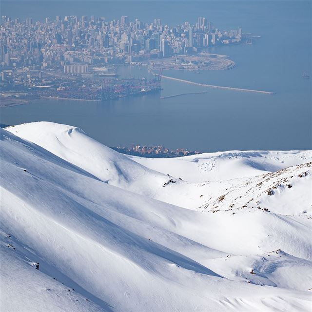 Beirut as seen from the slopes ❄️ ⛄️By @mikeroscopik Faraya MontLiban ... (Faraya, Mont-Liban, Lebanon)