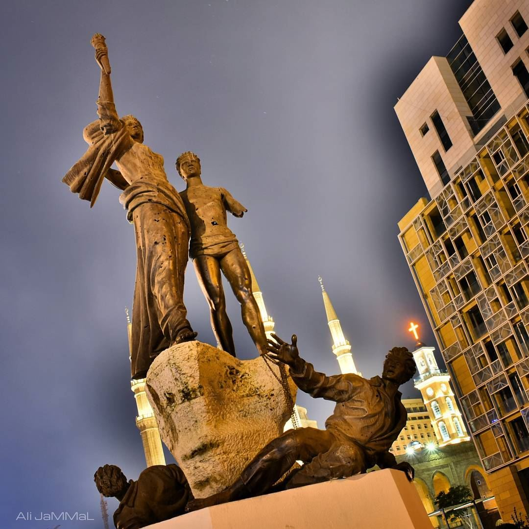 Our greatest glory is not in never falling but in rising every time we... (Martyrs' Square, Beirut)