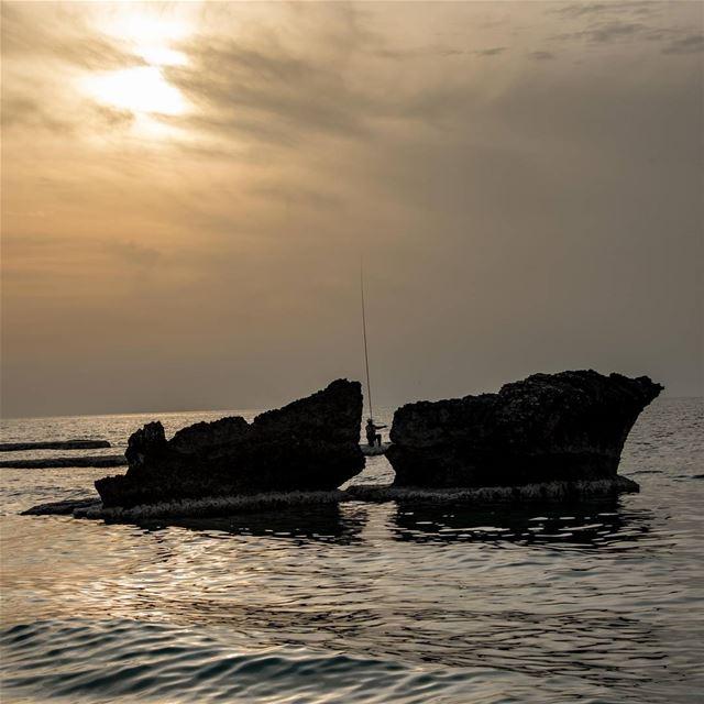 Fishermen enjoying a calm winter sunset 🌅.. lebanon thoum ... (Pierre & Friends)