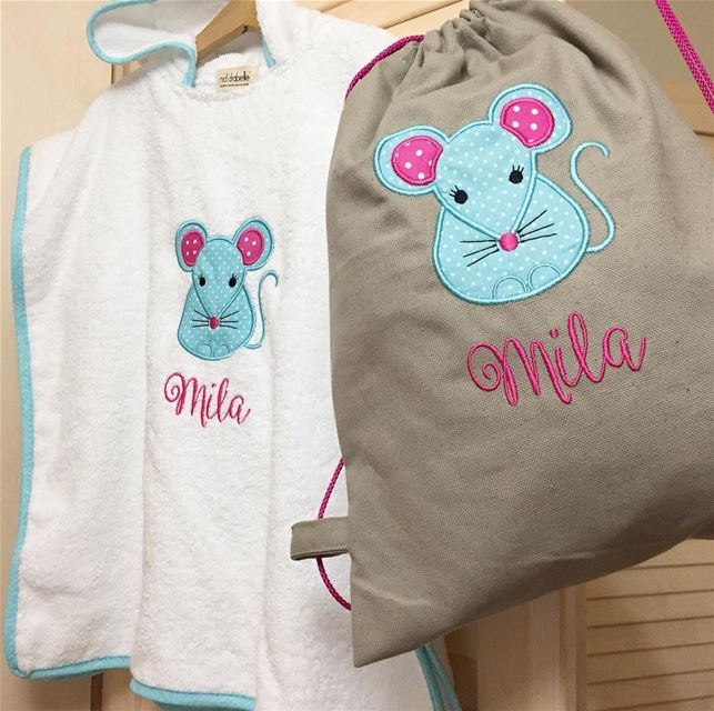 Meet our mini blue mouse 🐭set for baby Mila 💖Write it on fabric by nid d'
