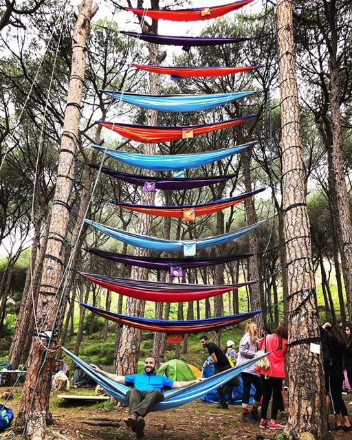 The 12 floor hammock tower of Lebanon🗼 camping hammock ... (Beit Meri, Mont-Liban, Lebanon)