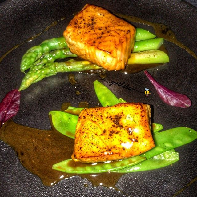 Maple Soy-cured Salmon with fresh asparagus 👌🏼👌🏼😋😋... salmon ... (ARTS Beirut)