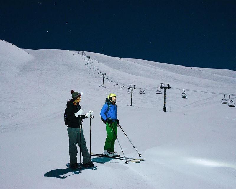 Midnight⛷🌌❄️- lebanon mzaar kfardebian snow snowshoeing neige ... (Mzaar Kfardebian)