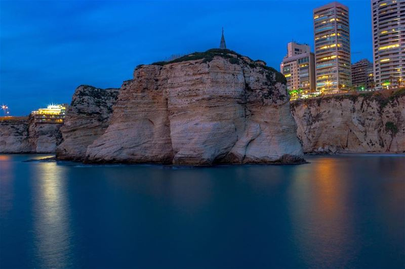 Beirut Rawshe Sea lights reflection landscape nature lebanon lebanon_hdr... (Ar Rawshah, Beyrouth, Lebanon)