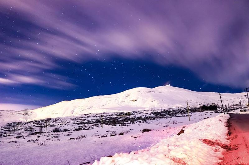 Lebanon Night Mountains Winter Snow LiveLoveLebanon 🇱🇧 (Sannin, Mont-Liban, Lebanon)