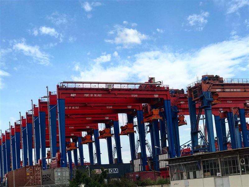 lebanon beirut port container terminal trade import export red blue sky... (Port of Beirut)