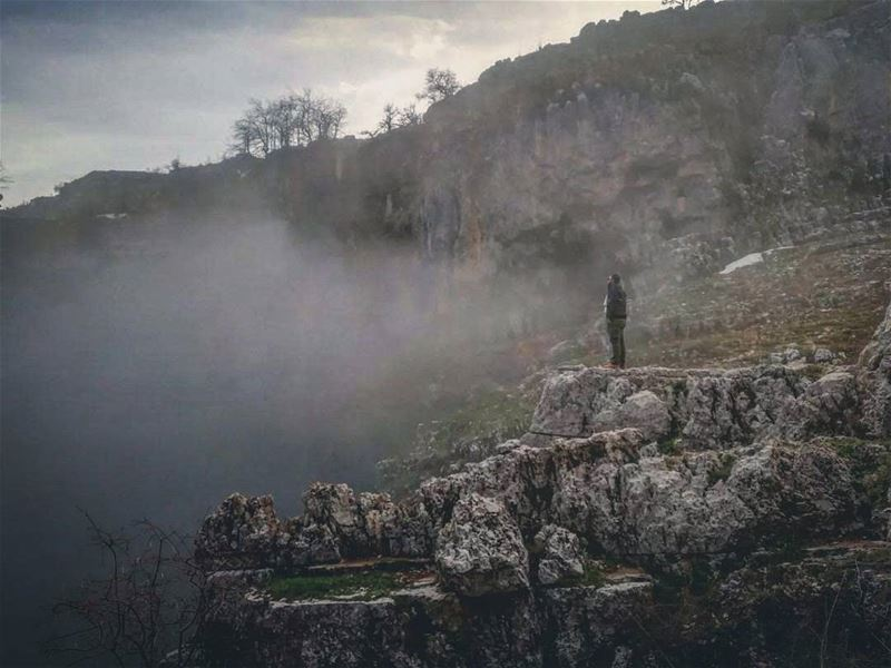 Smoking hot Nature...(او حتى الوادي صار عم يأرغل💨)... cliff ... (Châtîne, Liban-Nord, Lebanon)