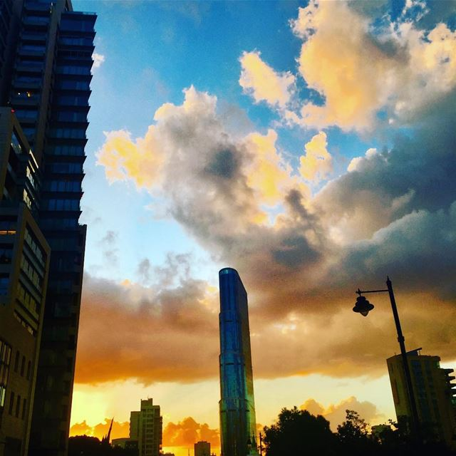 50 shades of sunset! .... Sunset Dusk Clouds sky blue yellow ... (Achrafieh, Lebanon)