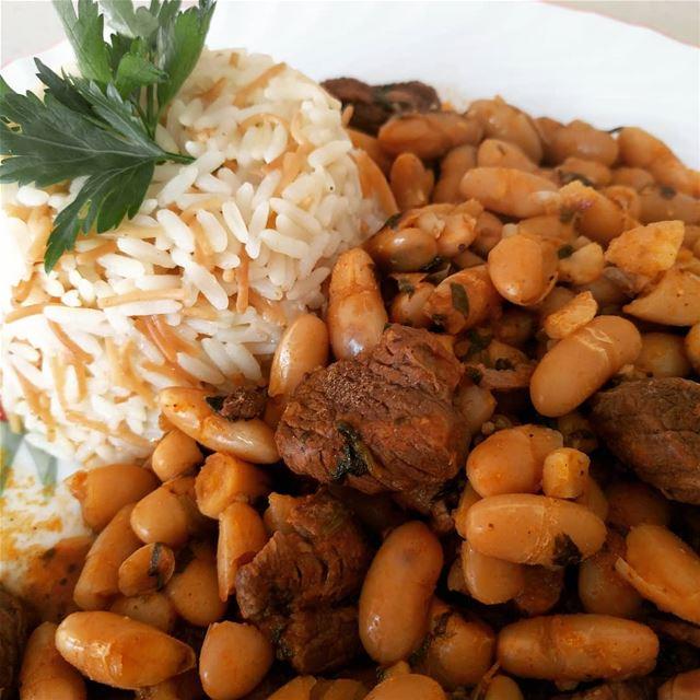 فاصوليا مع الرز beans food lebanesefood fasoulia rice instafood ...