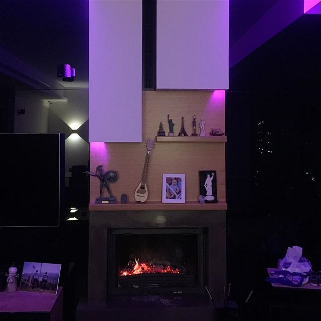 purple lighting cozy fireplace apartment apartmentliving beautiful ... (Ballouneh, Mont-Liban, Lebanon)