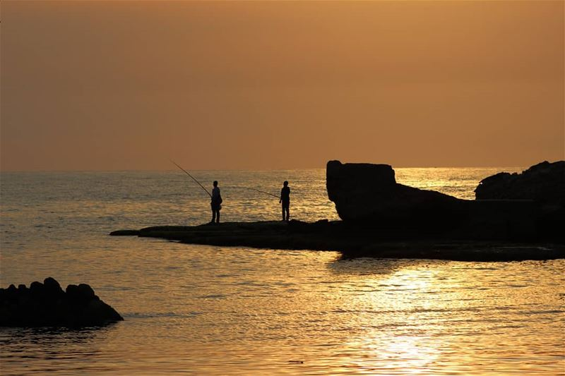 picoftheday lebanon byblos fishermen sunset sea perfect...
