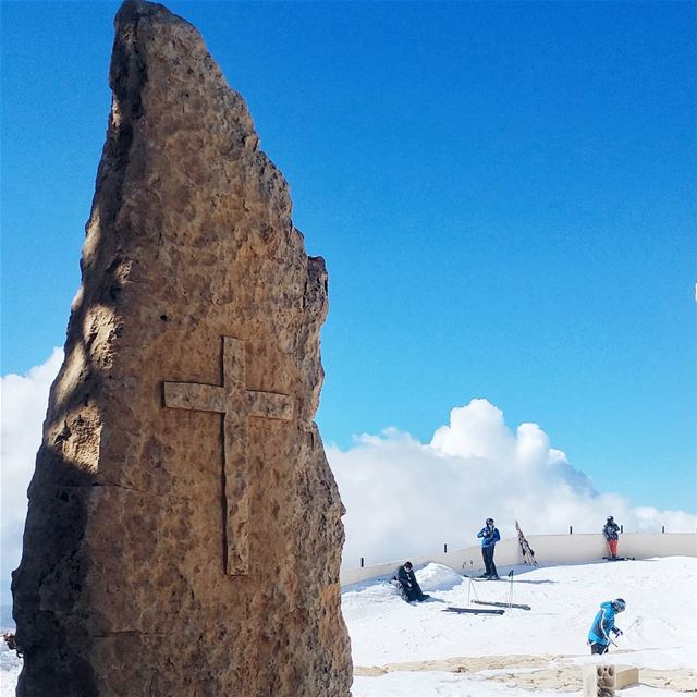 You know you're in Mzaar skiing when you see that cross! mzaarskiresort ... (Mzaar Ski Resort Kfardbian)