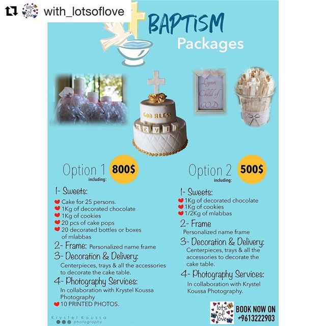 Repost @with_lotsoflove・・・Baptism Packages 2018: Book starting today on... (Lots Of Love Lebanon)