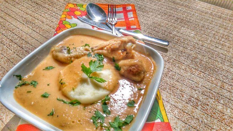 Chicken Granat soup (African Peanut butter soup) with mashed potatoes and... (Em's cuisine)