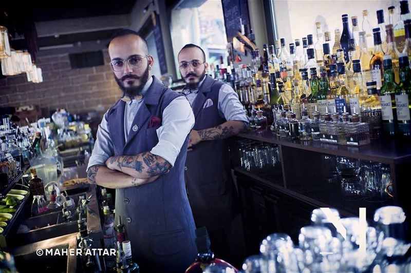 "Meet Alain and Kavin .. Bartenders. ""A bartender is just a phramacist with... (Beirut, Lebanon)"