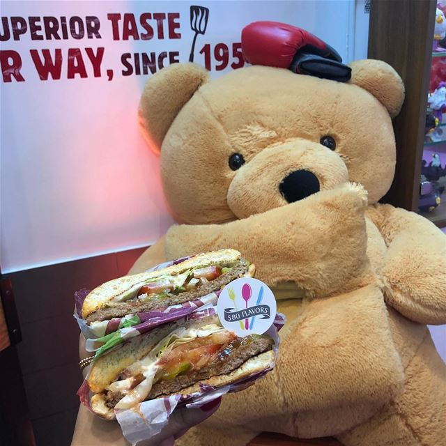 Missing the teddy bear or the burger?! Akid the teddy bear 🐻 😍❤️ @bkleban (Dbaïyé, Mont-Liban, Lebanon)