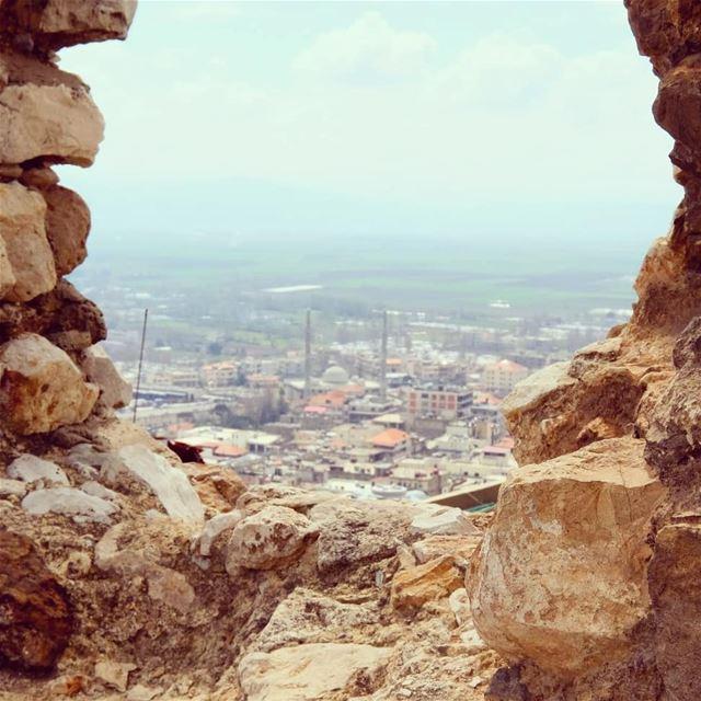 view through ruin kabbelias bekaa livelovebekaa horizon lebanon ... (Qabb Ilyas, Béqaa, Lebanon)