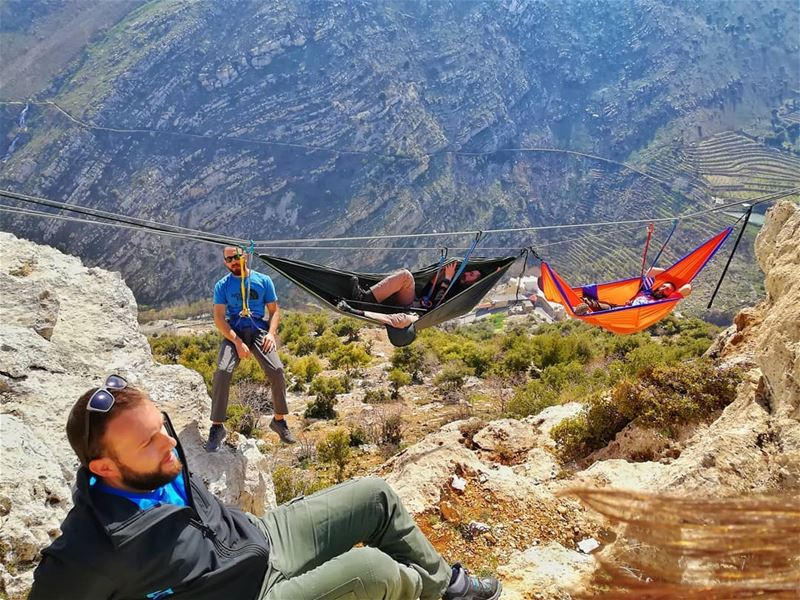 ⚠️ Don't Try This At Home⚠️HAMMOCKS IN THE AIR•In hammocks: @architectont (Zahlé, Lebanon)