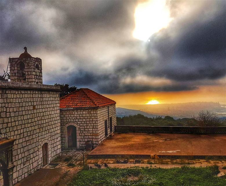 Old church and Beirut City church old sunsetsky sunset amazing ... (Mar Chaaya Broumana)
