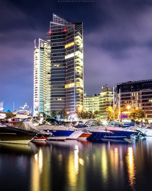 Beautiful reflections. Beirut at night long exposure | The zaituna bay.. ... (Beirut, Lebanon)