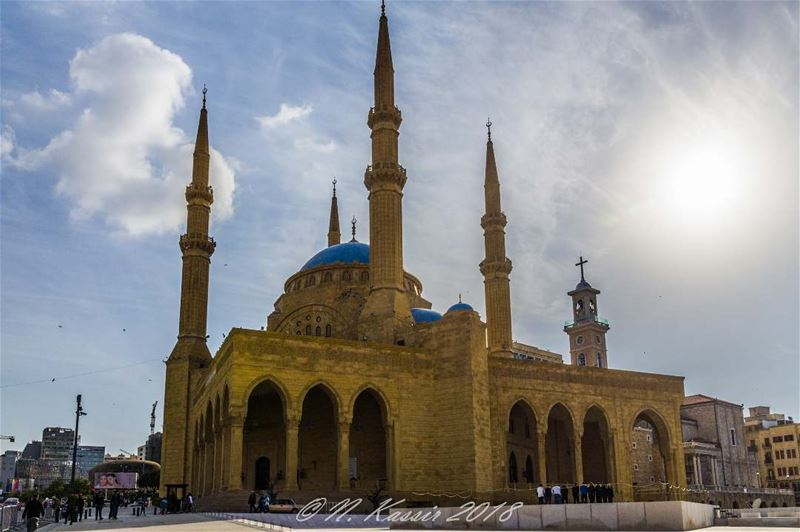 mosque  church  clouds  sun  sky  ig_great_shots ... (Martyrs' Square, Beirut)