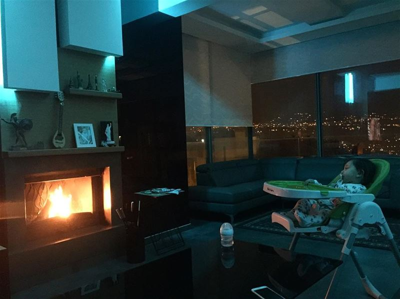 cozy evening night nighttime fireplace home apartment elias baby ... (Ballouneh, Mont-Liban, Lebanon)
