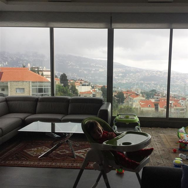 Lallous Elias babyboy apartment mountains rain cloudy view ... (Ballouneh, Mont-Liban, Lebanon)