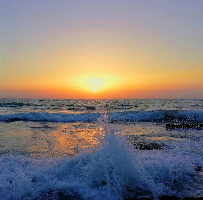 sunset sea waves ...