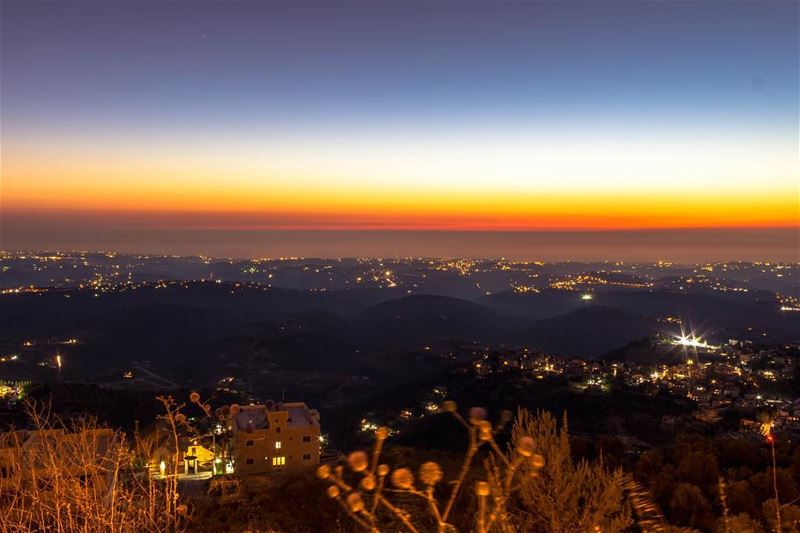 Sunset southern twilight landscape nature colourful sky sightseeing... (Jarjou`, Al Janub, Lebanon)