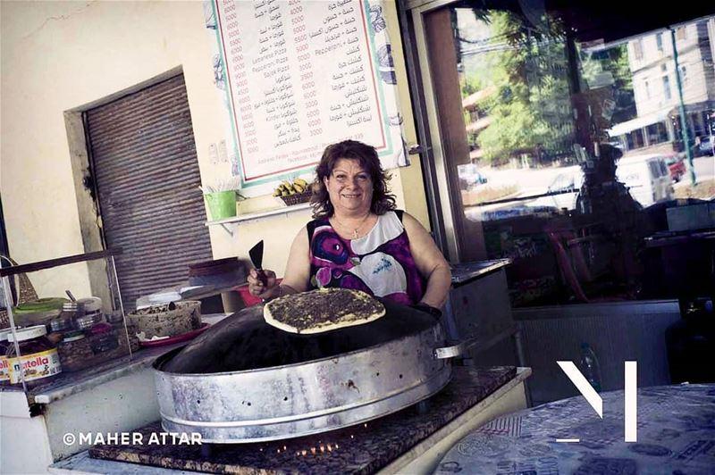 """Meet Samira ... Bread Maouche maker.. """"I beleive, a crazy morning spent têt (Faraya, Mont-Liban, Lebanon)"""