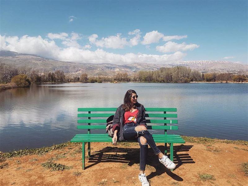 Welcoming back the sun! ☀️💛. nature lake spring roadtrip lebanon ... (Taanayel- Bekaa)