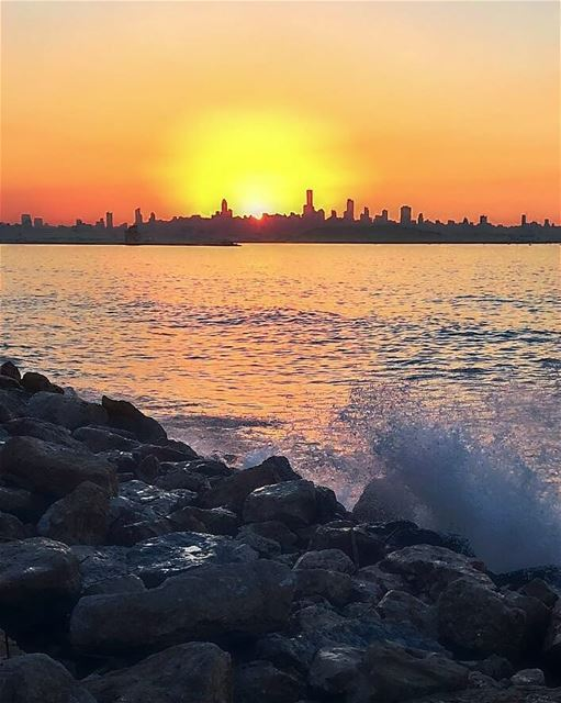 The sky broke like an egg into full sunset and the water caught fire ~... (Beirut, Lebanon)