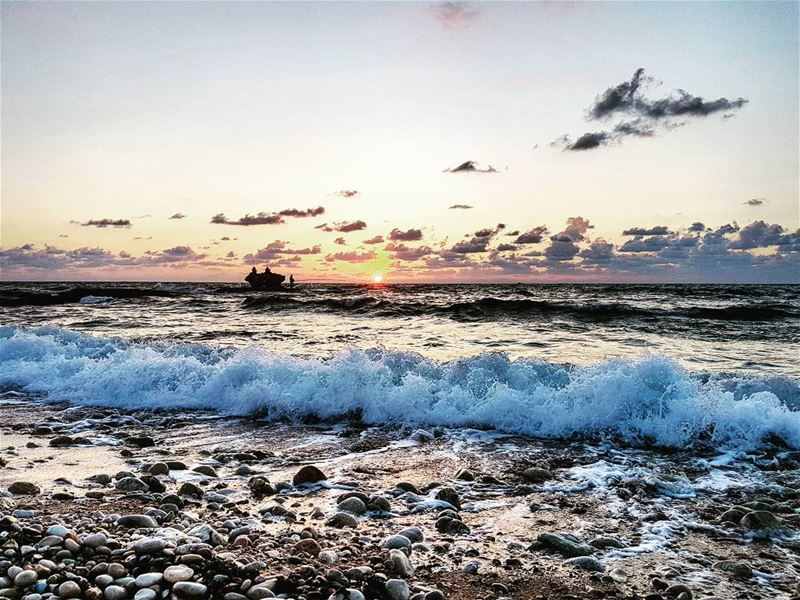 The Daily Struggle 🌊🌅🌊 Sunset Sea Horizon Waves Water Shore Stones...