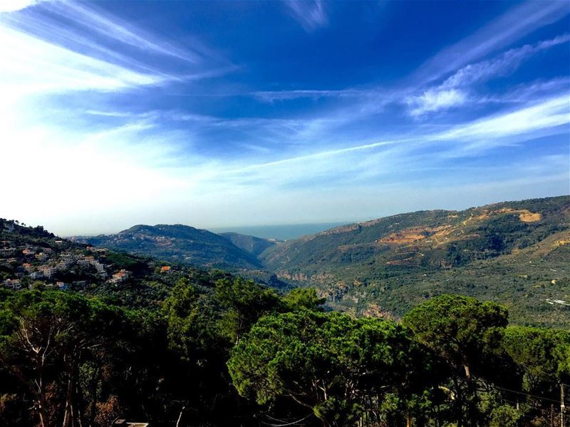 Another masterpiece created by God! clouds mountains trees sea ... (Bchetfîne, Mont-Liban, Lebanon)