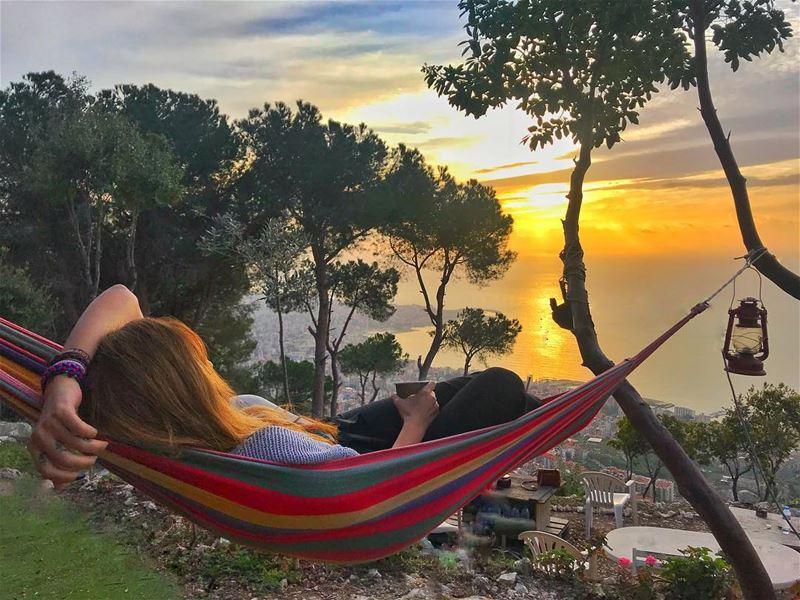 When you've got a beautiful city view, hang a hammock and enjoy it 🍭 (Sahl `Alma, Mont-Liban, Lebanon)